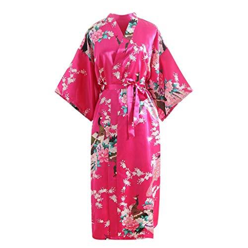 KPILP Peignoir Femme - Impression - Kimono - Confortable - Sexy - La Mode - Ajusté Peignoir (Rose Vif,Taille Unique)