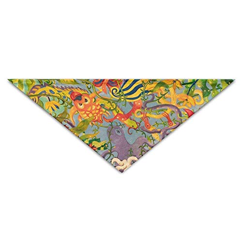 Sdltkhy Octopus Goldfish Flower Art Triangle Pet Scarf Dog Bandana Pet Collars Dog Cat - Birthday