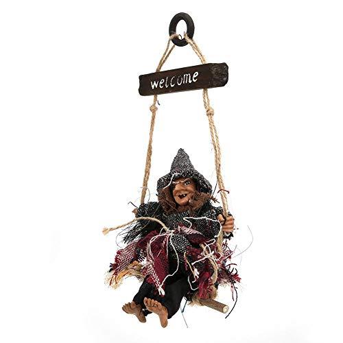 Tnfeeon Hängende Dekorationen der Halloween-Hexe, Schule Hausbar Garten Horror hängende Fliegen-Hexe-hängende Halloween-Dekor-Stützen(Hexe mit Grauer Mütze)