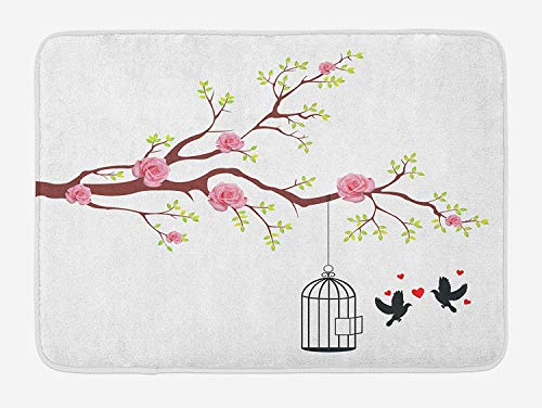 FAFANIQ Birds Bath Mat, Blossomed Roses and Flying Love Valentine's Birds with Hearts and Cage Romance, Plush Bathroom Decor Mat with Non Slip Backing, 23.6 W X 15.7 W Inches, Pink Brown White -