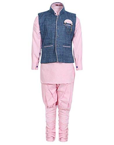 AJ Dezines Kids Kurta Pyjama Waistcoat Set for Boys (633_PINK_14)