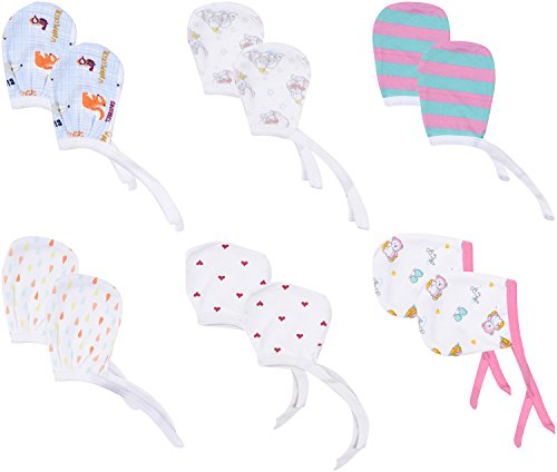 FARETO Baby Mittens (Set of 6, Multi-Coloured, 0-3 Months)