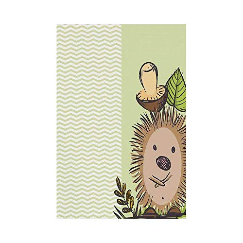 Liumiang Eco-Friendly Manual Custom Garden Flag Demonstration Flag Game Flag,Mushroom Decor,Cute Hedgehog with Chevron Stripes Pattern Spiky Animal Wildlife Cartoon Design,Green Brown Beigeo décor -