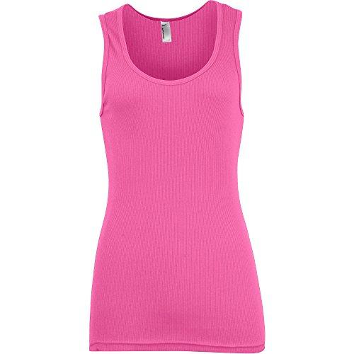 American Apparel Womens/Ladies 2x1 Classic 100% Cotton Tank Top Fuchsia