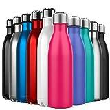 Invool de Botella de Agua de Acero Inoxidable,diseño de Pared Doble,Boca estándar,para Correr, Gimnasio, Yoga, Ciclismo,500ML,Rosado