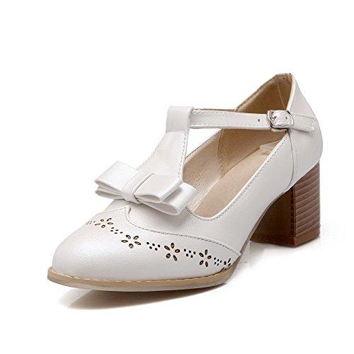 AgooLar Femme Boucle à Talon Correct Couleur Unie Rond Chaussures Légeres Blanc