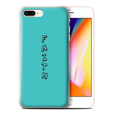Stuff4 Hülle / Case für Apple iPhone 8 Plus / Blau/Nerd Muster / Gekritzel Wörter Kollektion Blau/Glaube