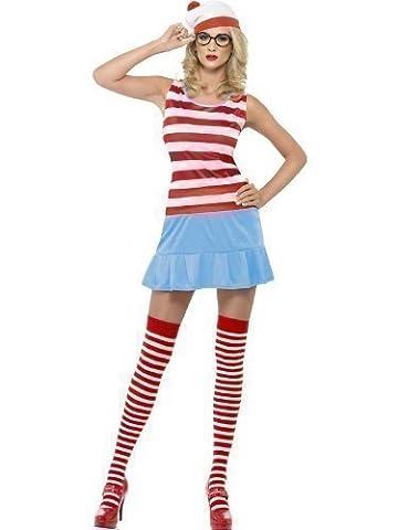 4 Stück Damen Wo ist Wally Wenda Waldo Sexy Büchertag Junggesellinnenabschied Kostüm Kleid Outfit mit Strümpfe Hut Brille - Rot/weiß, Rot/weiß, (Wo Ist Waldo Kostüm Damen)