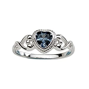 Precious Pieces Ring aus Sterlingsilber, mit September-Geburtsstein aus Zirkonia, für Mädchen und Babys