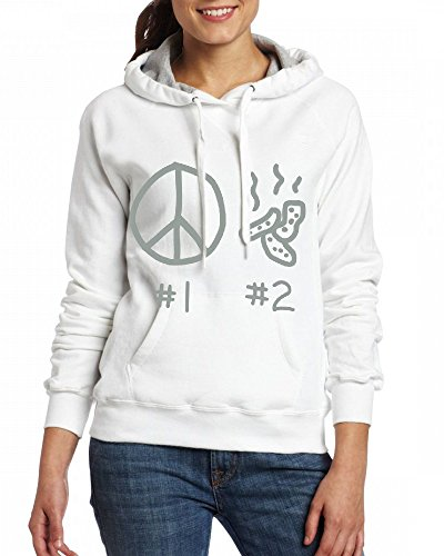 Custom Womens Hooded - Design 1 2 Peace Hoodies White