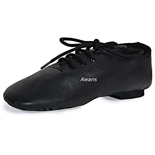 Awans Pure Leather, Split Suede Sole Jazz Dance Shoes, Black UK 9 kids