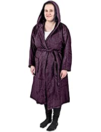 3a946c27ea0 Homescapes Adults Purple Dressing Gown 100% Egyptian Cotton Luxury Terry  Towelling Unisex Bathrobe with Hood