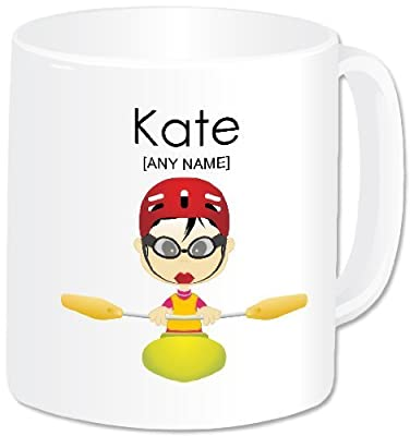 Personalised Gift - Kayaking Mug (A GoPersonalised Design) - Any Name / Message. Water Sports Activities Kayak Canoe Canoeing Themed Design (Oriental Female) by GoPersonalised