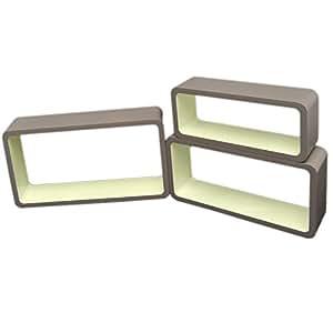 3er Set Lounge Cube Regal Design Retro 70er Wandregal Hängeregal längliche Form in Grau und CremeWeiß