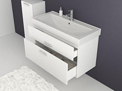 Waschtischunterschrank 100 / 80 / 60 cm breit Hochglanz Weiß Waschbeckenunterschrank Unterschrank Badmöbel-Set hängend Sieper Girona (100 breite) - 2