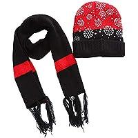 Amphia - Weihnachten Schneeflocke Kind Hut Schal Zweiteiliger Anzug,Kinder häkeln Mütze Pelz Woll Strick Mütze Waschbär Warm Caps + Schal Schal Anzug
