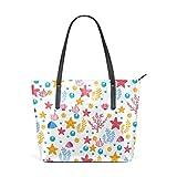 XGBags Custom Damen Pu Leder Umhängetasche Handtasche Handbag Seastars And Seaweed Shoulder Bag...