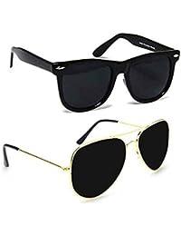 SHEOMY COMBO OF STYLISH Golden BLACK AVIATOR AND MATTE BLACK WAYFARER SUNGLASSES (Violet) WITH 2 BOX Best Online...
