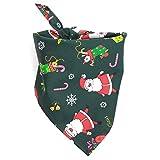 UK_Stone Weihnachten Hundehalstücher Hunde Dreieckstuch Spucktücher für Hunde oder Katzen Hundezubehör, Weihnachtsmann Grün