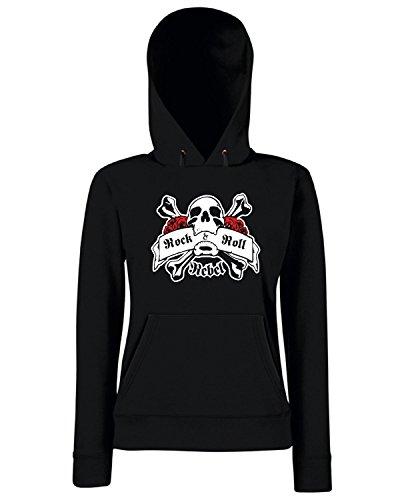 T-Shirtshock - Sweats a capuche Femme TR0117 Rock and Roll Rebel T-Shirt Noir