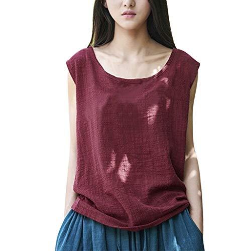 Geek-ernte (CAOQAO T-Shirt Rundhals Ausschnitt Sweatshirt Damen-Weinlese-Sleeveless BaumwollleinenbeiläUfige Lose Ernte üBersteigt Westen-Bluse)