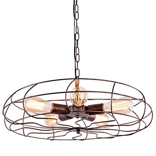 Ruanpu Ventilador industrial Lámpara colgante de iluminación de techo Vintage 5 luces...