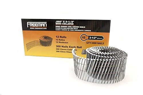 Freeman 15Grad Draht Hot Eingetaucht verzinkt Ring Schaft magazinierte die Seite Nägel, SNRSHDG92-25WC