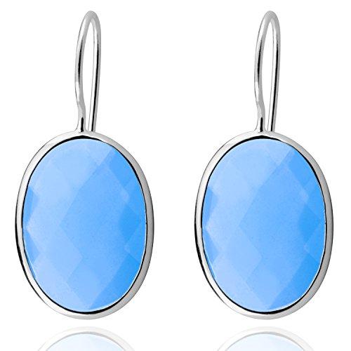 Klassische Wasser Tropfen Himmel Blau Achat Ohrringe Solide MetJakt 925 Sterling Silber Ohrring für Dame Hochzeitsparty Edlen Schmuck (Grün)