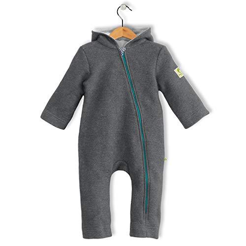bubble.kid berlin - Unisex Baby Mädchen Jungen Herbst Winter Anzug Overall Einteiler Jumpsuit Onepiece Onesie, Soft Walk Wolle, Grösse: 74/80 (6-12 Monate), Farbe: steingrau