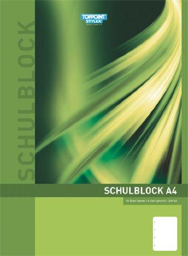 Stylex Schulblock A4, 10er Pack, gelocht, blanko, 50 Blatt, holzfreies Papier, weiss
