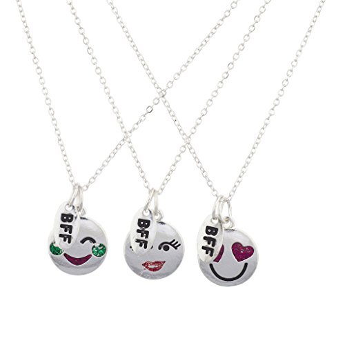 Lux Accessories Halskettenset mit Emojis und grünem Rubin