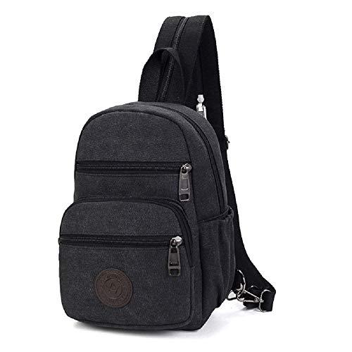 (ZHRUI Vintage Rucksack Sling Bag Brust Schulter Umhängetasche Ourdoor Sport Rucksack (Farbe : Schwarz))
