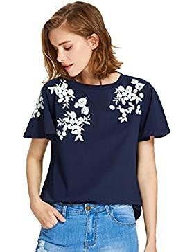ROMWE Camiseta Algodón Para Mujer con Estampado de Flores