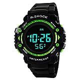 Y56 Sport LED Wasserdicht Digital Watch Billig Armbanduhr, Mode Outdoor Quarz Analog Herren Damen Uhren Mädchen Jungen (Grün)