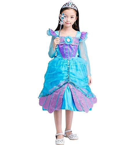 Das beste Meerjungfrau Kostüm Kinder Glanz Kleid Mädchen mermaid Rollenspiele Weihnachten Verkleidung Karneval Party Halloween (Für Mädchen Rey Kostüm)