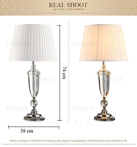 Lámpara de mesa moderna del dormitorio del cristal K9, lámpara de mesa de la decoración de la sala de estar de la pantalla de la tela, para el dormitorio-modelo a_Regulador de intensidad