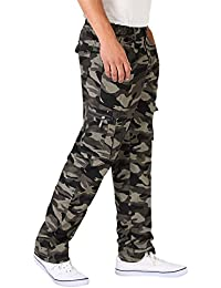 Hommes Pantalon Cargo Loose Fit Denim Multipoches Style Militaire Casual