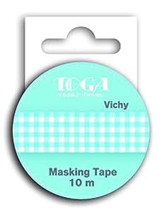 Toga MT29 Ruban de Masquage Vichy Bleu Washi Tape Bleu 5,5 x 7 x 1,5 cm