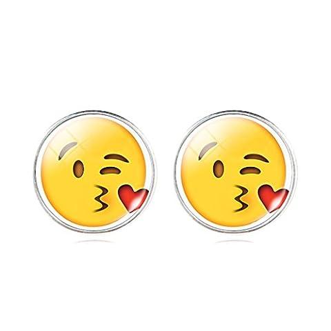 Frauen Im Romantischen Kissy Chat Emoji Ohrringe Glas Kristall Cabochon Stud Ohrringe Geschenk (Romantische Kuss)