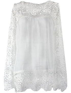 SODIAL(R) Camisas de manga larga de ganchillo hueco flor chiffon encaje blanco de mujer de moda otono Blusas femeninas...