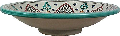 Large Ronda Hand painted Moroccan Ceramic Plate / Platter from Fez, Di 40 H 10 cm - Multicoloured Design