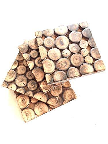 Artistic Indien Natur Holz handgefertigt Untersetzer für Getränke, Heiß/Kalt, Kaffeebecher, Bier Dosen, Bar Gläser, Tee & Kaffee Tisch Deko Cocktail Untersetzer, (Set von 5)-10,2x 10,2cm -