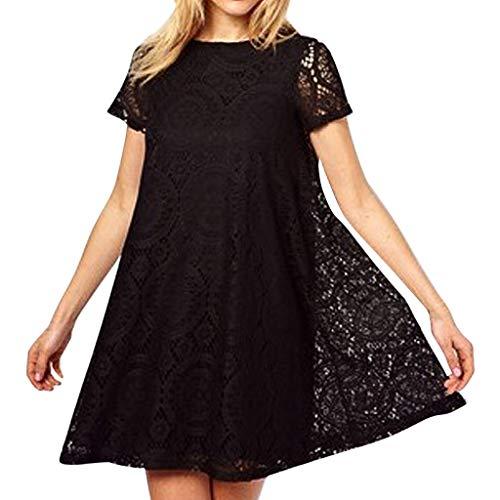 ZEELIY 2019 Sommer Damen Mode Kleider Sexy Plus Größe Solide Kurzarm Oansatz Spitze Stil Dress aushöhlen Kleid