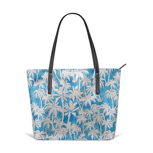 hulili Frauen weiches Leder Tote Umhängetasche Maui Palm Turqiouse Mode Handtaschen Satchel Geldbörse