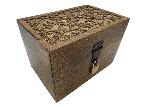 24 EGS Truhe mit Schloß Motiv Eule-Vogel Holztruhe Schatzkiste mit Schloss Schatztruhe Geschenk Geschenkbox Geburtstagsgeschenk verschließbar abschließbar mit Deckel (24 EGS 23x15x15 cm)
