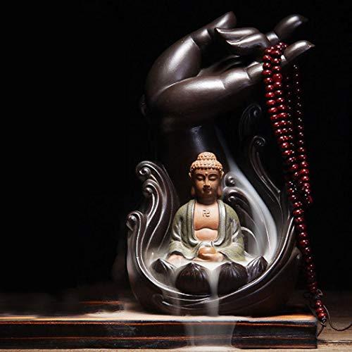 Buddha Backflow Räucherstäbchenhalter mit 10 Stück Rückfluss-Räucherkegel, Home Keramik Backflow Räucherkegel Halter Brenner Style A