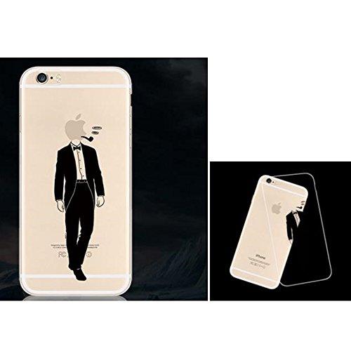Lustig Hülle Cover for Apple iPhone 5 5s SE Handyhülle, Aohro Transparent Weich TPU Silikon Schutzhülle Bumper Case mit Cartoon Muster + Eingabestift + Staubstecker, Papierflieger Gentleman