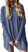 Yidarton Pull Femme Large Top à Manches Longues Tunique Casual Mini Robe