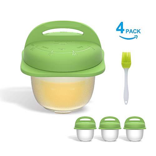 KITCHENDAO Premium Eierkocher Cups-Easy Pop-Out-System - Integrierte Zeitanweisung - Anti-Flip-System - Eiercracker - Silikon Eierkocher für hartgekochte Eier - 4er Pack mit 1 Bürste