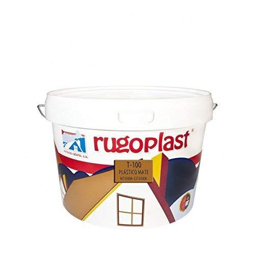 Rugoplast - Pintura plástica mate blanca económica T-100 para paredes de interior, Blanco